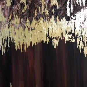 Картина с золотой поталью. Золочение. Сусальное золото. Акрил. Картина на холсте.