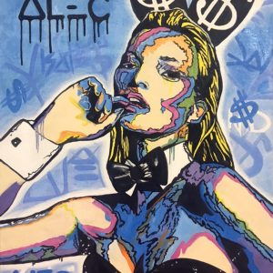 Картина поп арт живопись маслом Алек Монополи Кейт мосс