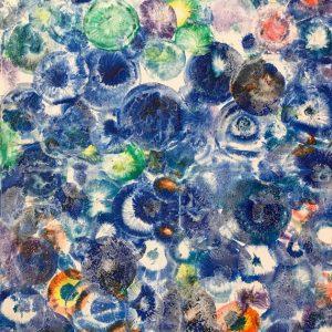 Абстрактная интерьерная картина живопись голубая шарики цветы flowers