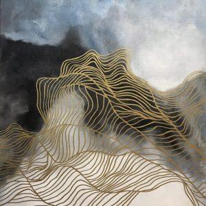 Картина маслом на льняном холсте абстракция золотые линии трэйси ченг живопись