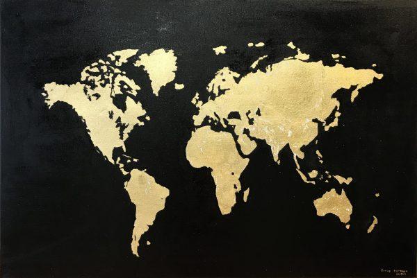 Картина с сусальным золотом Карта мира. Масло. Холст