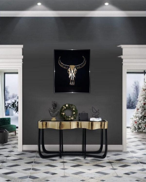 Картина Бык со стразами сваровски (череп быка)