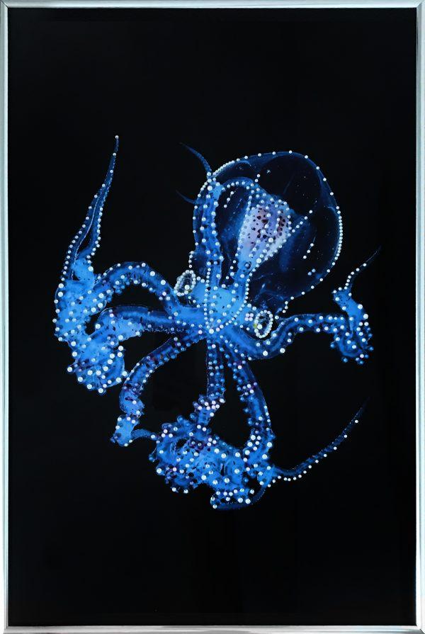 """Декоративное ювелирное панно """"Octopus"""" Осьминог. Люксовая авторская картина со стразами сваровски. Материал: плексиглас (фотопечать), багет из металла. Инкрустация стразами Swarovski, ручная работа. Стильный современный интерьер. LUX ART"""