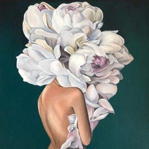 Девушка с пионами. Картина маслом на холсте. Эшли Джадд. Ashley Judd