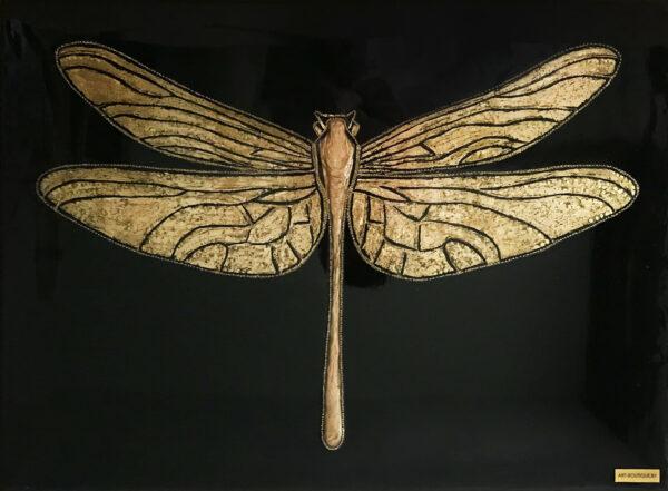 Картина золотая стрекоза со стразами
