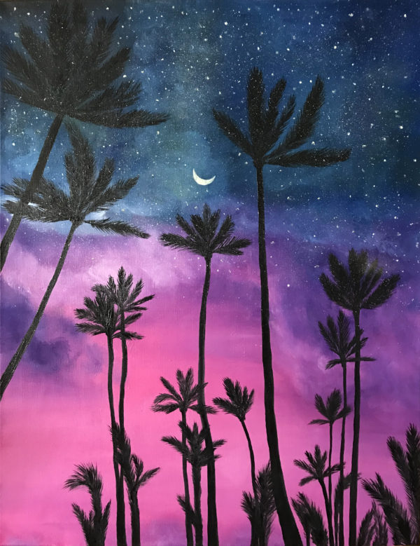 Картина красивый пейзаж с пальмами chii art масло холст