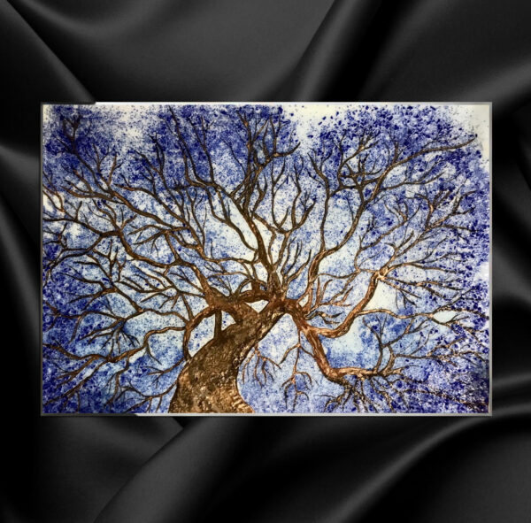 Картина голубое дерево фактурная