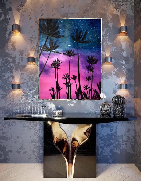 Стильная современная картина пейзаж с пальмами на закате