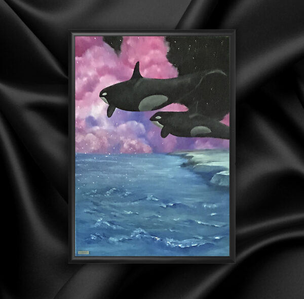 Картина косатки в облаках космическая природа