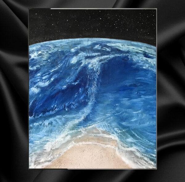 Картина маслом на холсте планета земля океан и волны, морской пейзаж, космический пейзаж