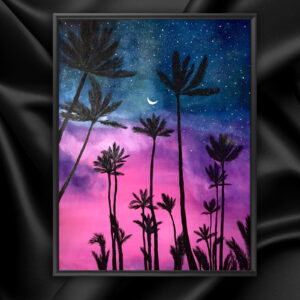 Картина розовый закат и пальмы