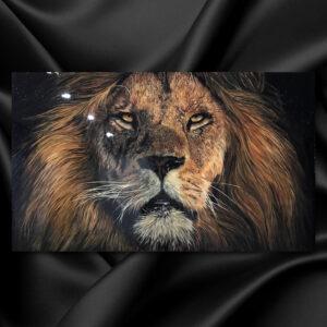 Лев картина в интерьер блестящая стильная картина со львом