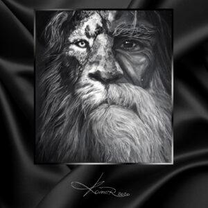 Картина маслом мужчина лев art man lion портрет льва и мужчины