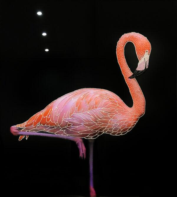 Ювелирное панно со Swarovski розовый Фламинго