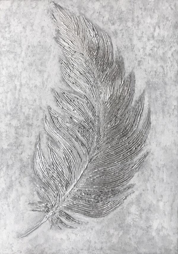 Фактурная картина с серебряным пером абстрактная