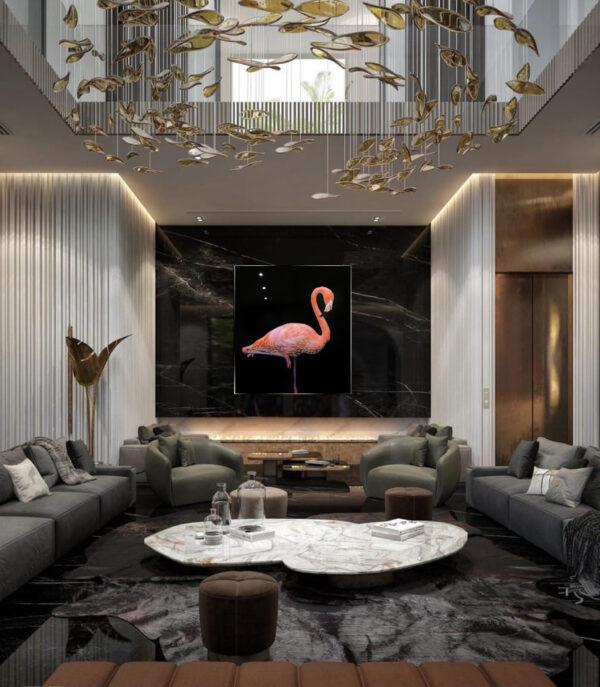 Розовый фламинго в интерьере lux art