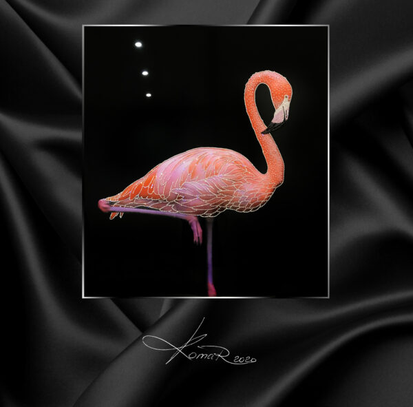 Картина розовый фламинго красивая
