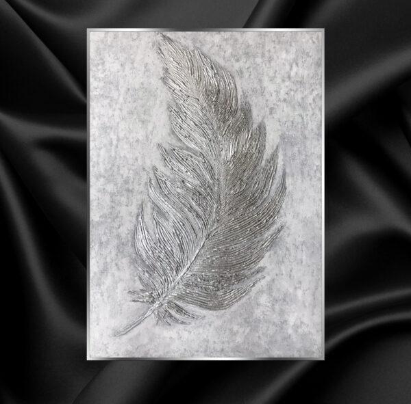 Картина Серебристое перо барельеф рельефная