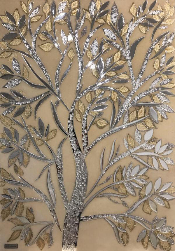 Зеркальная картина Дерево с золотом и стразами Swarovski