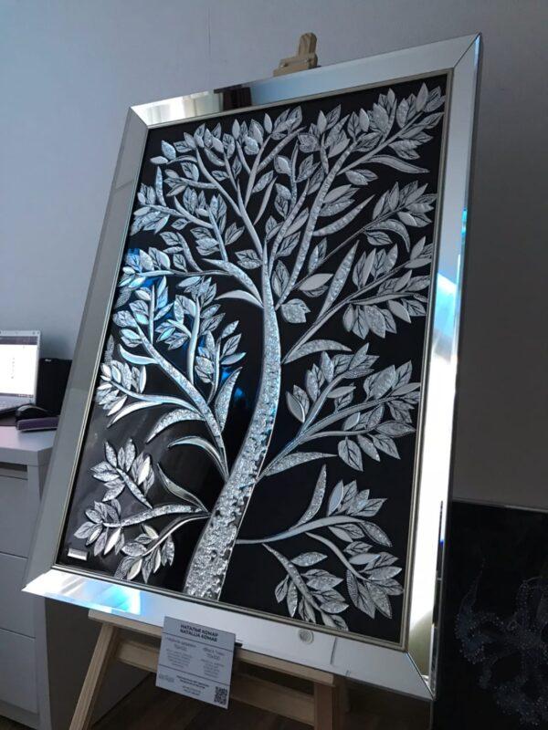 Картина маслом из зеркал эпоксидной смолой Черное серебряное зеркальное дерево древо