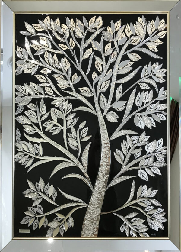 Картина из зеркальных витражей Black Tree oil resin art