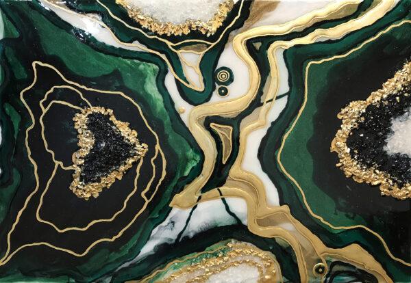 Абстрактная картина из эпоксидной смолы срез зеленого камня жеода