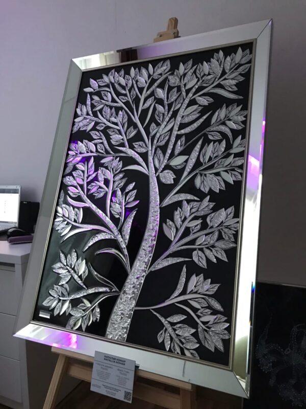 Купить зеркальную премиум картину Черное дерево