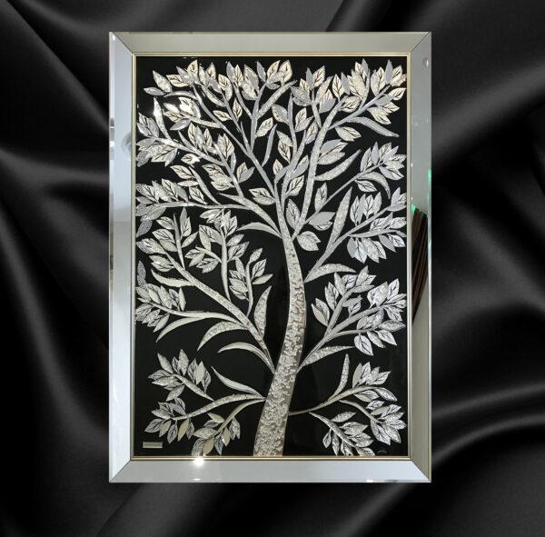 Зеркальная картина Черное дерево Black Tree из эпоксидной смолы и сваровски
