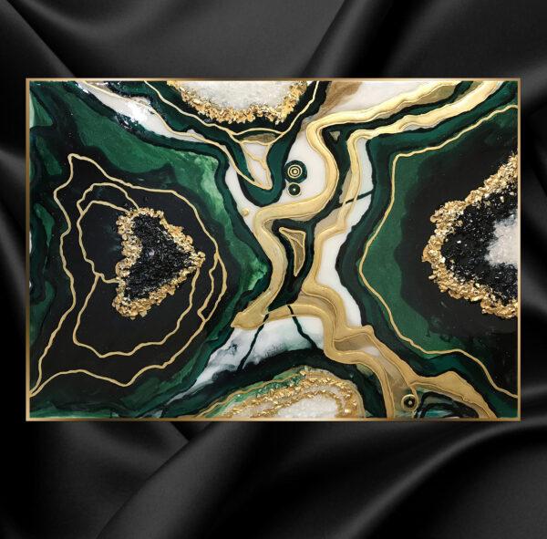 Картина эпоксидной смолой срез камня жеода малахит изумрудная