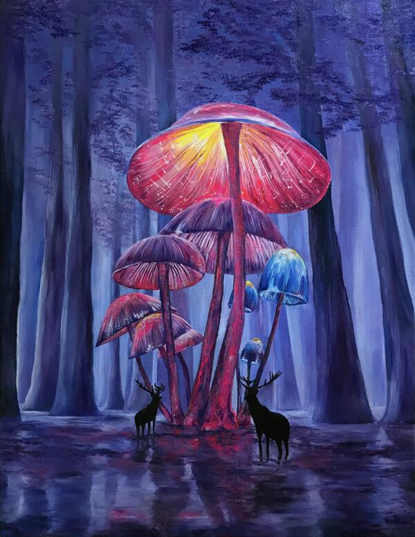 Oil art Magic mushrooms Psychedelic Art