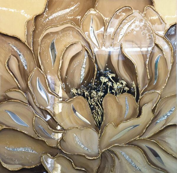 Зеркальная картина маслом Золотой пион премиум класса с зеркалами