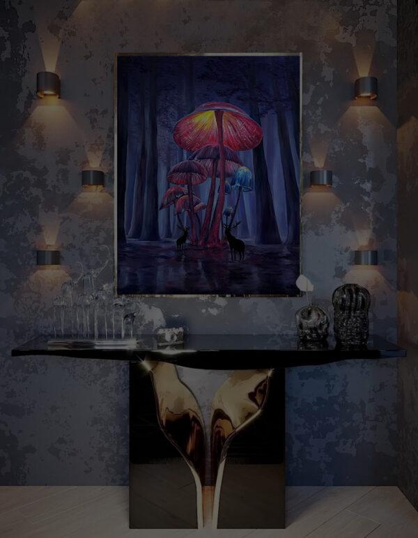 Картина светящаяся ночью в темноте психодел грибы