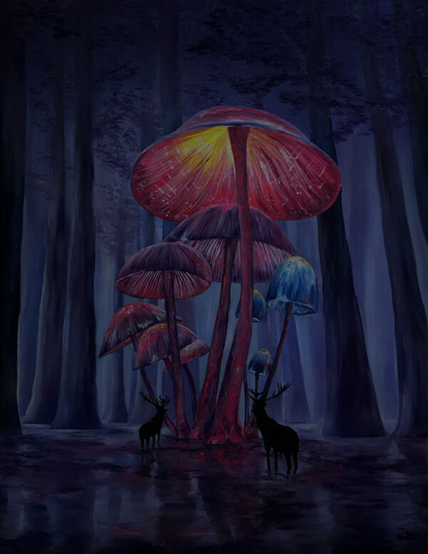 Картина психоделика рисунки грибы в лесу