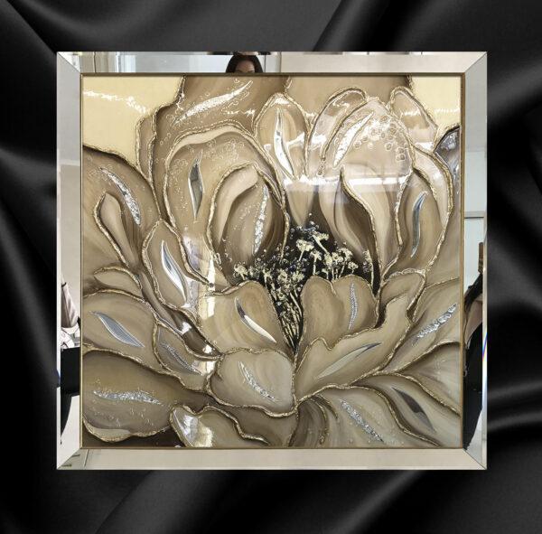 """Зеркальная картина в зеркальной раме """"Золотой пион"""" Картина с цветком цветами"""