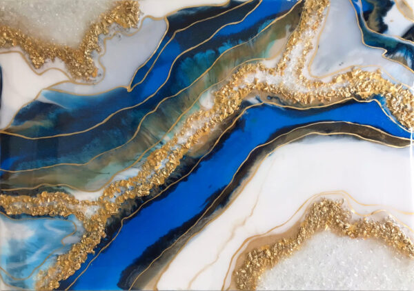 Жеода срез камня лазурит resin art