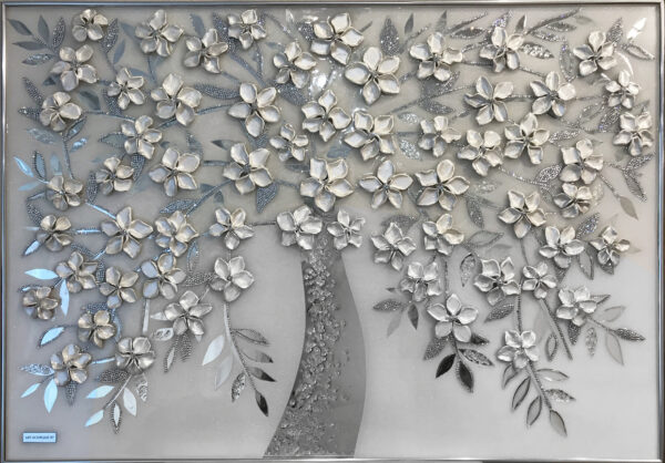 Нежная картина белое дерево из зеркал и страз swarovski