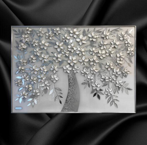 Зеркальная картина белое жемчужное перламутровое дерево из зеркал барельеф