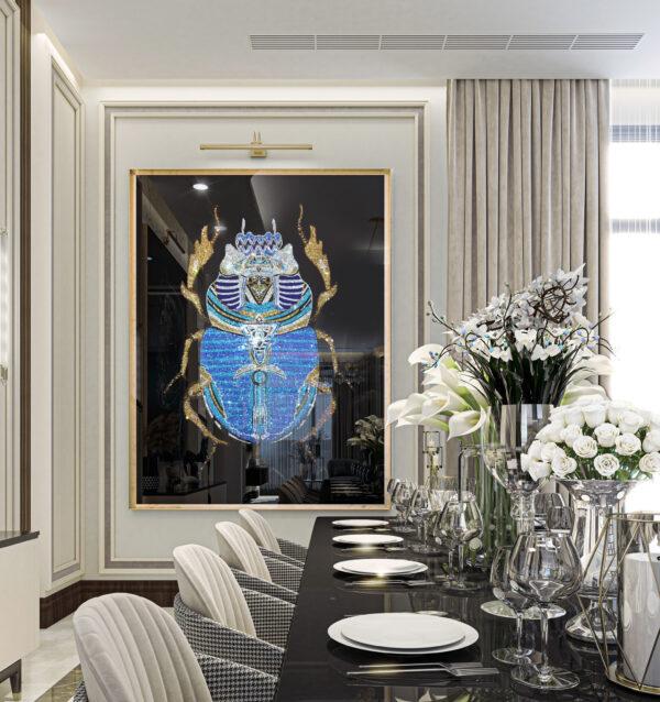 Жук скарабей декоративное панно в интерьере премиум класса