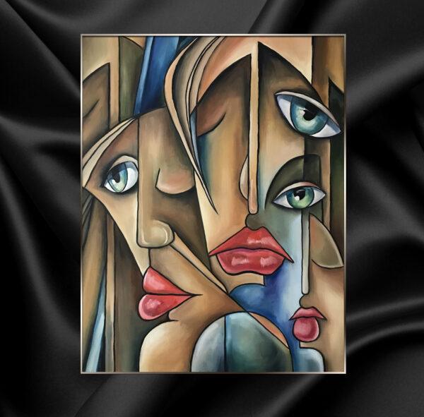 Картина маслом на холсте абстрактный кубизм авангард двойные лица