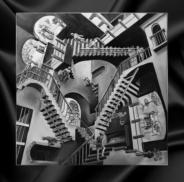 """Картина с несколькими ломанными перспективами неправильной перспективой Maurits Cornelis Escher M.C. Escher """"Relativity"""""""