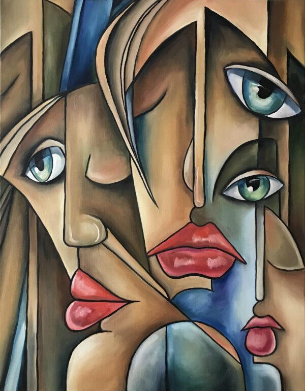 Картина модерн в жанре авангард двойные лица девушек