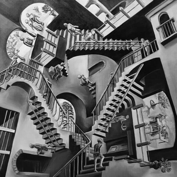 Относительность Эшер Мауриц Корнелис Запутанные лестницы картина с лестницами тесселяция