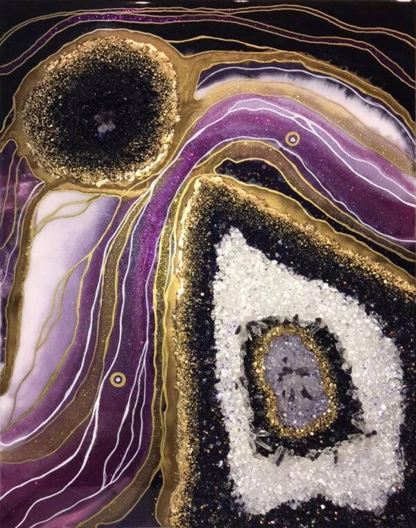 Имитация среза камня геода аметиста
