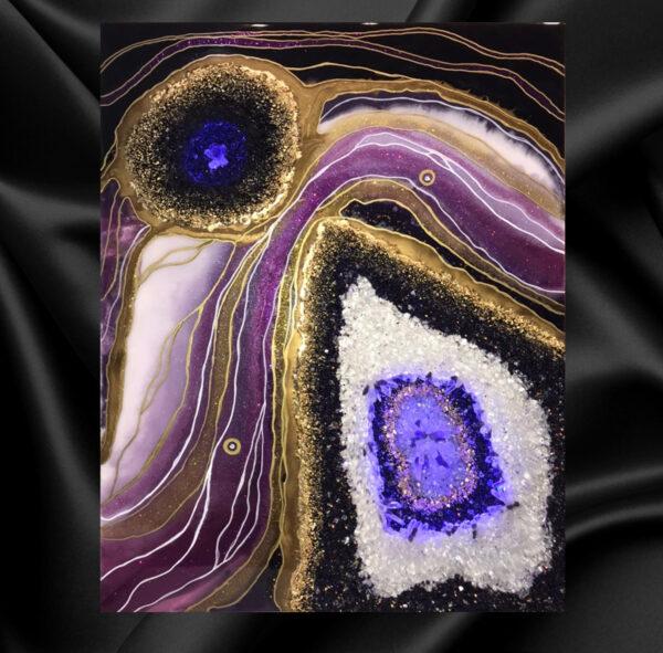3д картина с подсветкой и натуральными камнями срез камня эпоксидной смолой